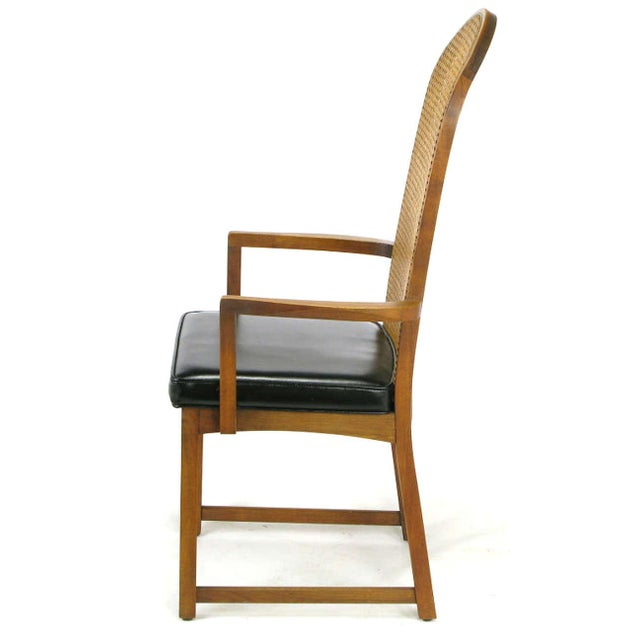 Four Milo Baughman Walnut & Cane Arch-Back Dining Chairs - Image 3 of 9