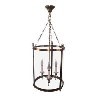 Large Neoclassical Brass and Silver Lantern