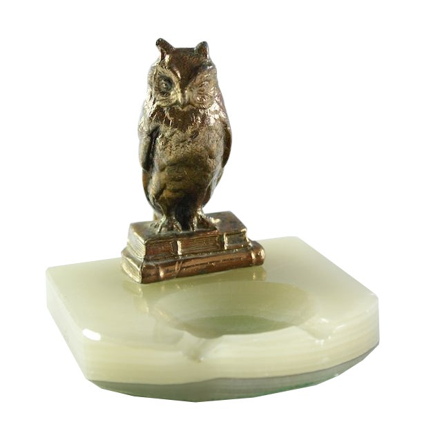 Vintage Wise Owl Upon Onyx Ash Tray - Image 1 of 6