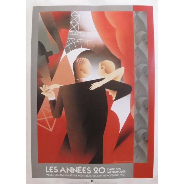 1990s 1991 Original Art Deco Exhibition Poster, Les Années 20 - l'Age Des Metropoles (Dancing Couple), for the Mmfa For Sale - Image 5 of 5
