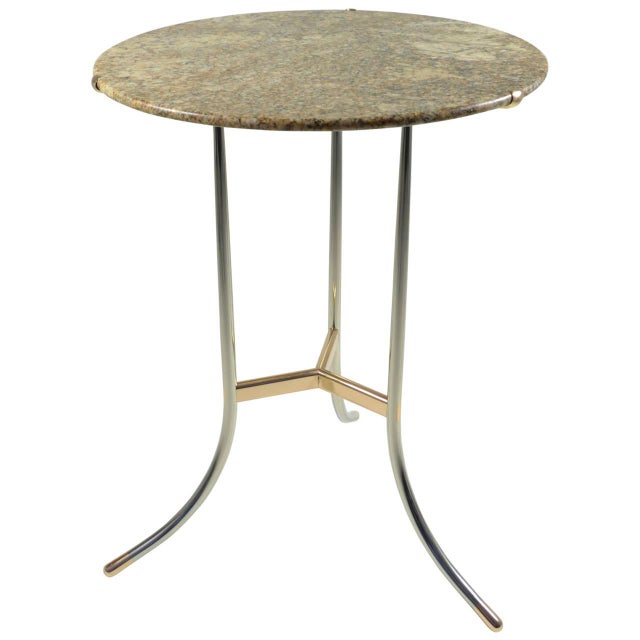 Cedric Hartman Side Table, Steel and Brass Base For Sale - Image 10 of 10