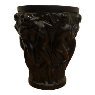 Lalique Crystal Small Black Bacchantes Vase For Sale