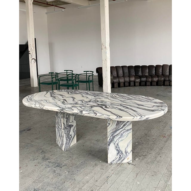 White 1980s Postmodern Oval Marble Dining Table For Sale - Image 8 of 8