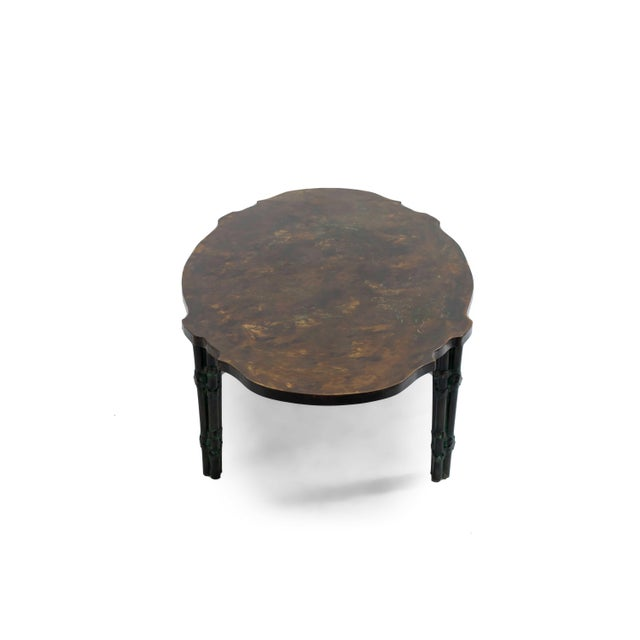 Mid-Century Modern American Midcentury Patinaed Bronze Oval Shaped Coffee Table For Sale - Image 3 of 7