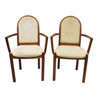 Late 20th Century Vintage Benny Linden Design Danish Modern Teak Dining Armchairs - a Pair For Sale