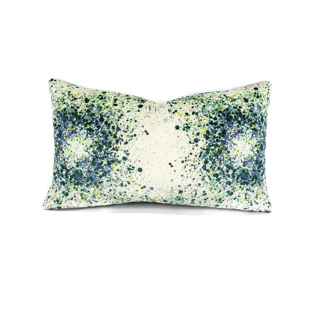 From Highland Court is Bellatrix in the color Aegean pillow cover. This is a soft velvet that has a white background with...