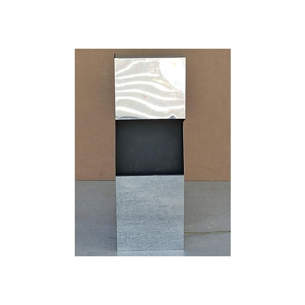 George Kovacs Chrome & Black Angled Lighted Pedestal For Sale - Image 4 of 10