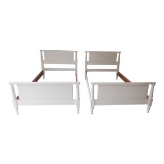 Mid-Century Cherry Wood Bed Frames - A Pair