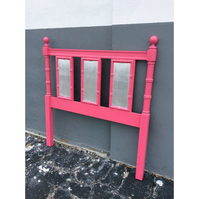 20th Century Hollywood Regency Hot Pink Lacquered Twin Headboard With Silver Leaf For Sale - Image 13 of 13