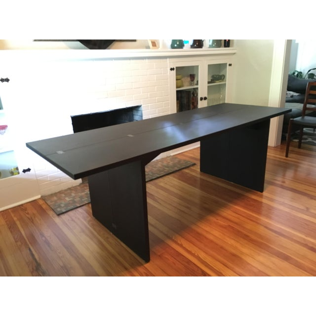 Folding La Barca Table by Piero de Martin for Cassina, Italy. Rectangular table with extending top. Finish: dark stained...
