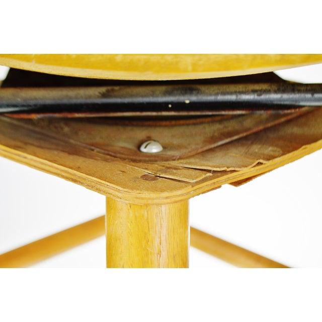 Mid Century Arthur Umanoff Style Slatted Wood Swivel Stool For Sale - Image 11 of 13