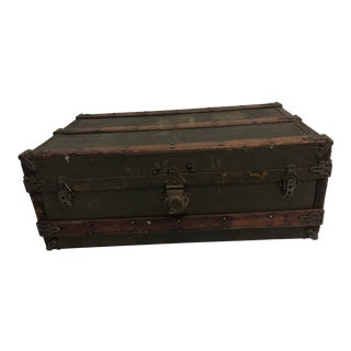 Vintage Industrial Low Steamer Trunk - Perfect for Coffee Table For Sale