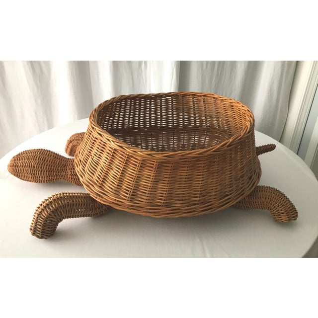 Wicker Mid Century Mario Torres Lopez Style Chinoiserie Large Wicker Turtle Basket Planter For Sale - Image 7 of 7