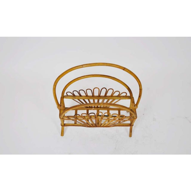 Vintage Bamboo Rattan Magazine Rack For Sale - Image 4 of 6