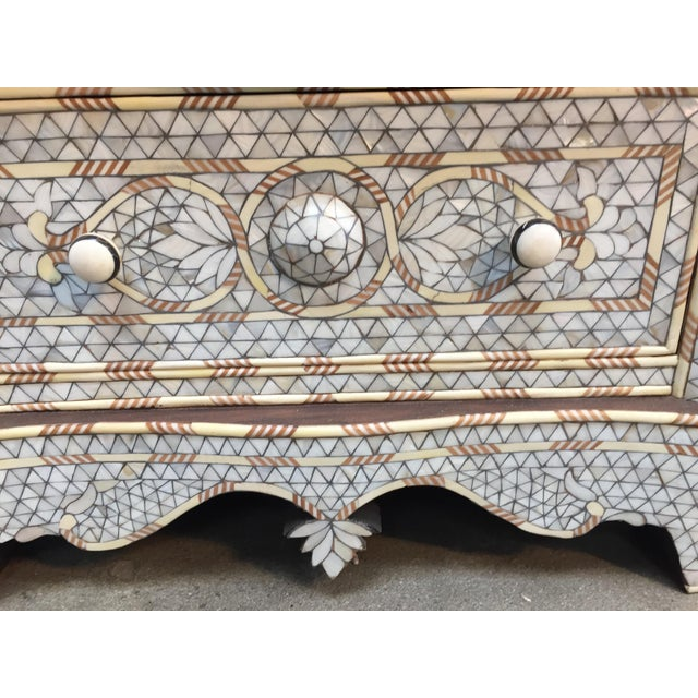 Syrian Middle Eastern White Mother-Of-Pearl Inlay Wedding Dresser For Sale - Image 10 of 12