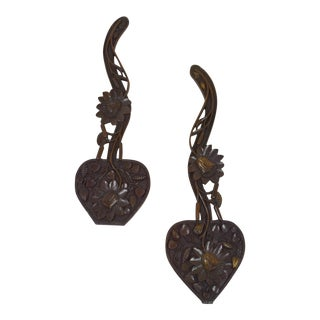 Hand Carved Oak Heart Carvings - a Pair For Sale
