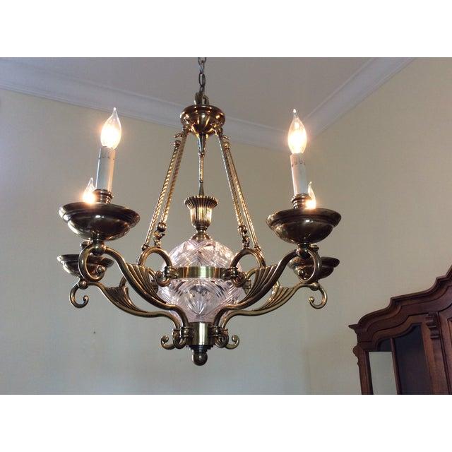 Vintage Brass & Crystal Chandelier - Image 4 of 8