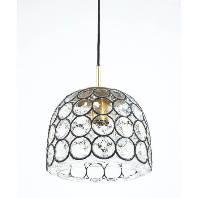 Mid-Century Modern Limburg Glass and Brass Pendant Lamp Light, Germany, 1960 For Sale - Image 3 of 4
