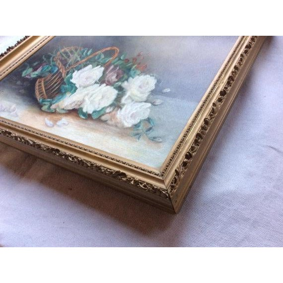 Antique Basket of White Roses Still Life Oil on Canvas For Sale - Image 4 of 6