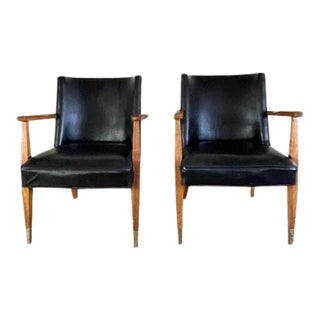 Mid-Century Modern Walnut & Vegan Leather Arm Chairs - a Pair For Sale