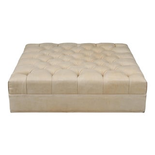 Vintage Tufted Leather Ottoman For Sale