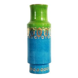 Bitossi Mid Century Modern Blue Green & Gold Art Pottery Vase For Sale