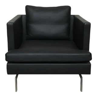 Didier Gomez for Ligne Roset 'Stricto Sensu' Black Leather Armchair For Sale