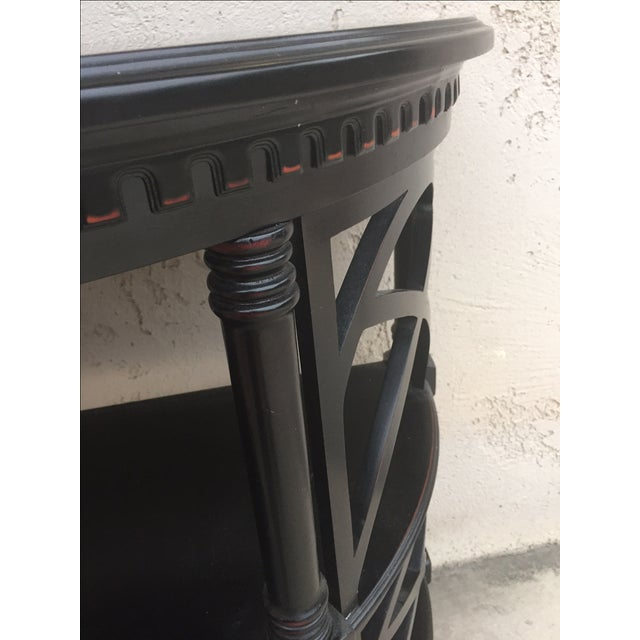 Black Wood Bamboo Style Demilune Entry Table - Image 7 of 7