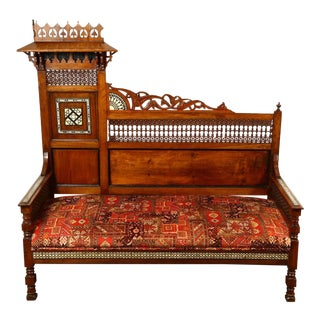 Mid 19th Century Antique Syrian Settee With Mother-Of-Pearl Inlay For Sale