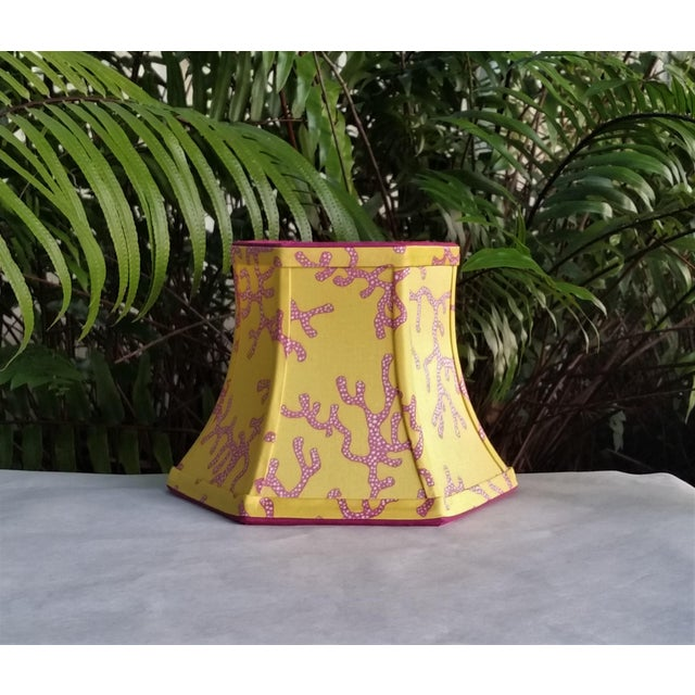 Lilly Pulitzer Fabric Lampshade Yellow Pink Coral Clip On For Sale - Image 9 of 11