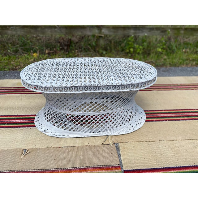 Traditional Vintage Mid-Century Russell Woodard Spun Fiberglass Oval Patio Table For Sale - Image 3 of 12