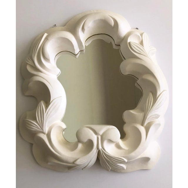 Vintage 40's Hollywood Regency style plaster mirror. A glamorous style asymmetrical shape in the style of Dorothy Draper.