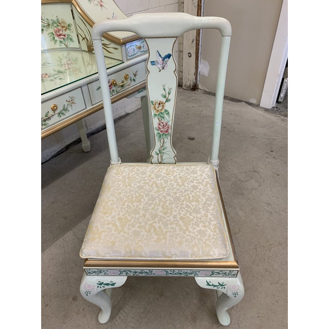 Jasper Cabinet Company Hand Painted Chinoiserie Desk Vanity & Chair For Sale - Image 10 of 13