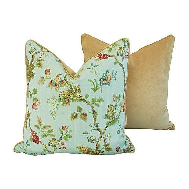 Italian Scalamandre Fleur Des Indes Pillows - Pair - Image 8 of 11