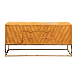 Superb Restored Bamboo Credenza in the Style of Milo Baughman, Circa 1975 For Sale