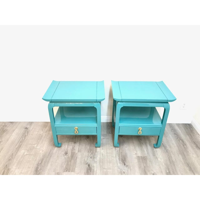 Kent Coffey Turquoise Lacquered End Tables - A Pair For Sale - Image 9 of 12