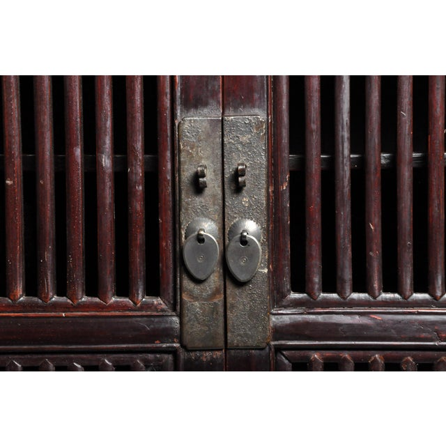 Oxblood Red Mid 19th Century Chinese Lattice Kitchen Cabinet With Original Patina For Sale - Image 8 of 13