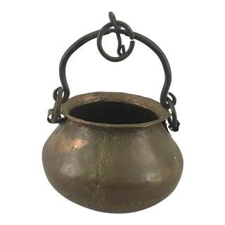 Antique Copper Hearth Soup/Stew Cauldron