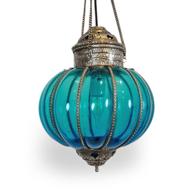 Vintage Turquoise Pumpkin Lantern For Sale - Image 4 of 5