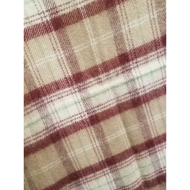 Textile Wool Throw Green, Red, Brown and White in a Plaid Design - Made in England For Sale - Image 7 of 11