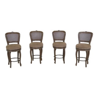 1990s French Style Revolving Seat Counter Bar Stools - Set of 4
