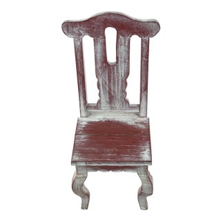 Primitive Red Miniature Chair For Sale