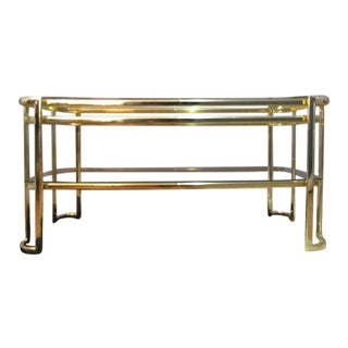 Mid-Century Modern Hollywood Regency Style Brass Console Table