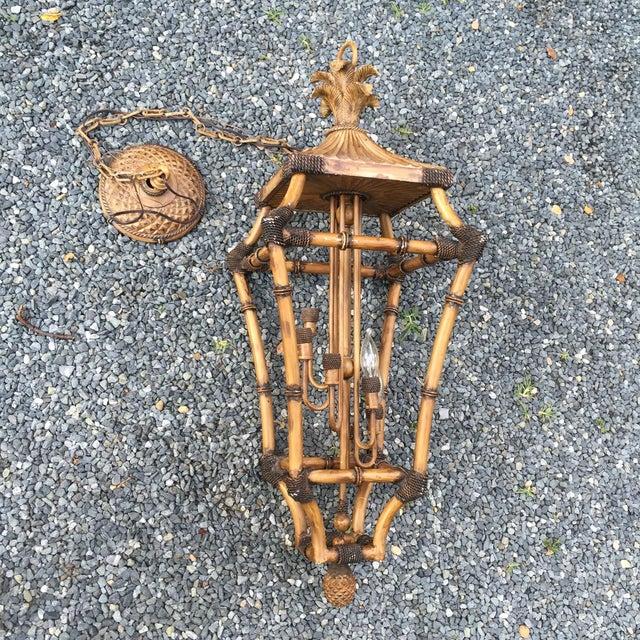Faux Bamboo Pagoda Palm 6 Light Lantern Chandelier - Image 2 of 11