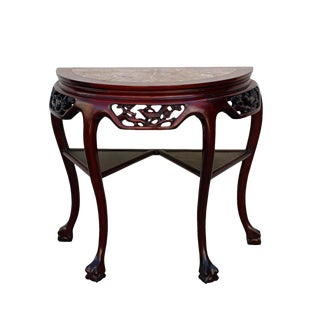Chinese Red Brown Color Solid Wood Stone Top Craw Legs Half Table For Sale