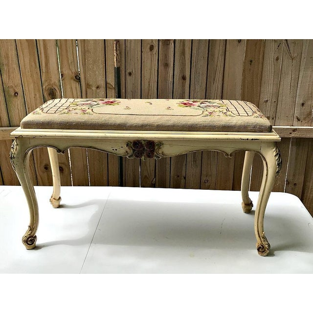 Vintage French Provincial Bench with Needlepoint Fabric For Sale - Image 9 of 9