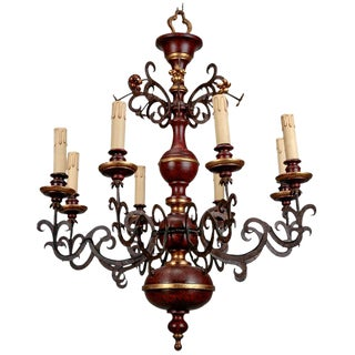 Italian Wood and Scrolled Iron Eight Light Chandelier For Sale