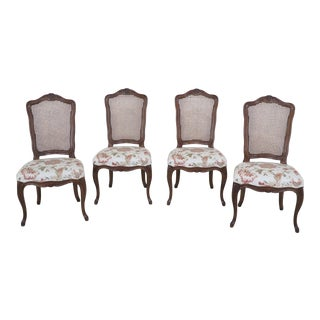 1970s Vintage Karges French Louis XV Style Cane Back Dining Room Chairs- Set of 4 For Sale
