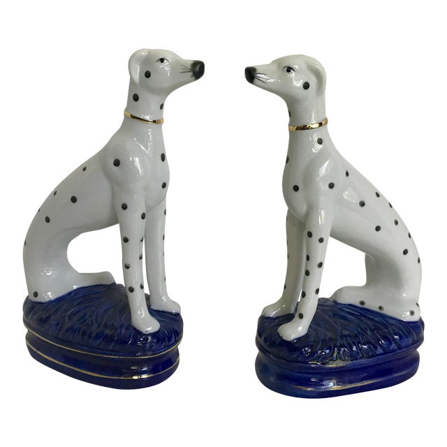 Vintage Staffordshire Style Porcelain Dogs - a Pair For Sale