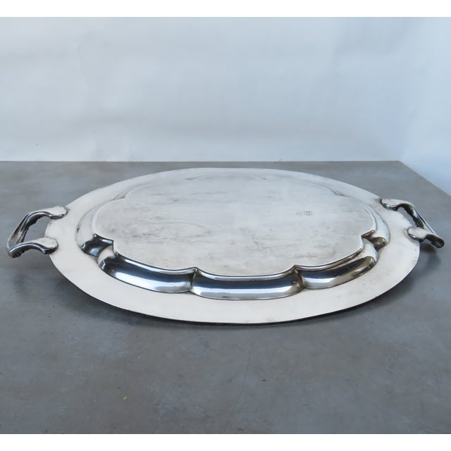 Vintage Silverplate Serving Tray For Sale - Image 4 of 6